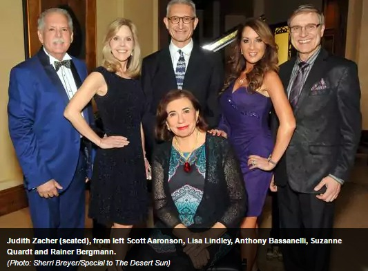 Judith-Zacher-seated-from-left-Scott-Aaronson-Lisa-Lindley-Anthony-Bassanelli-Suzanne-Quardt-and-Rainer-Bergmann Palm Springs Life Magazine: Dr. Suzanne Quardt joins The Doctors of the Desert Concert Rancho Mirage | Palm Springs
